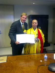 Marc Kealey with China's Buddhist Grand Master Li Ning